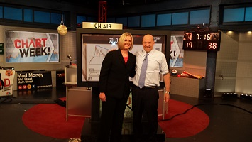 Carley Garner on the Mad Money set with Jim Cramer